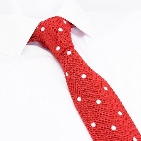 Red Polka Dot Knitted Square Cut Tie