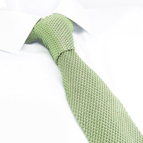 Pale Green Knitted Square Cut Silk Tie