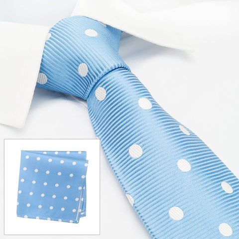 Blue Silk Tie & Handkerchief Set With White Polka Dots