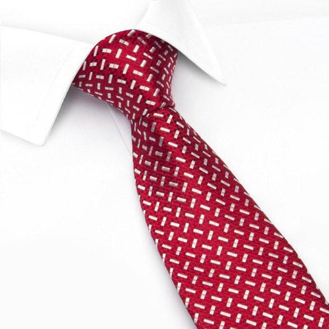 Red & White Textured Dash Silk Tie