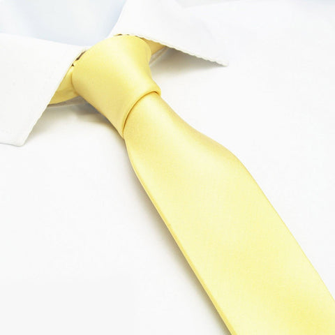 Plain Lemon Yellow Slim Silk Tie