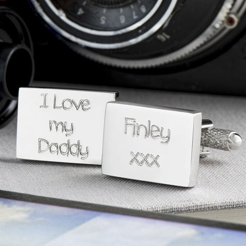 I Love My Daddy Engraved Rectangle Cufflinks