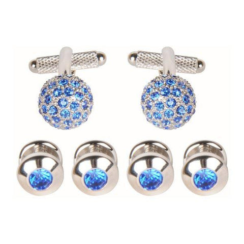Blue Crystal Cufflinks and Dress Studs