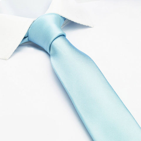 Plain Sky Blue Slim Silk Tie