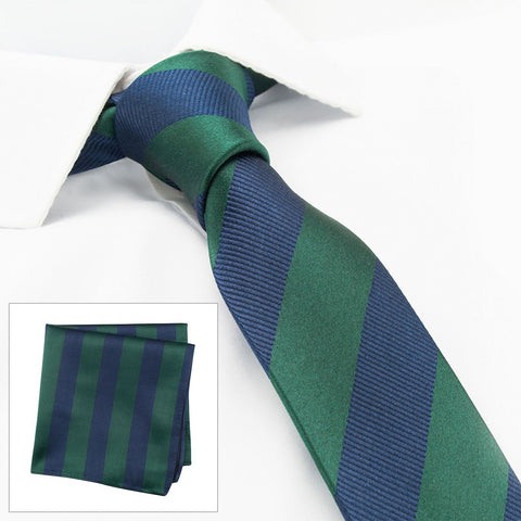 Dark Green & Navy Woven Striped Slim Silk Tie & Handkerchief Set