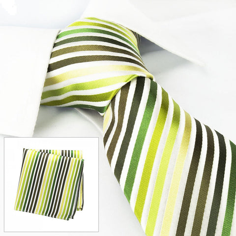 Various Green Striped Woven Silk Tie & Handkerchief Set
