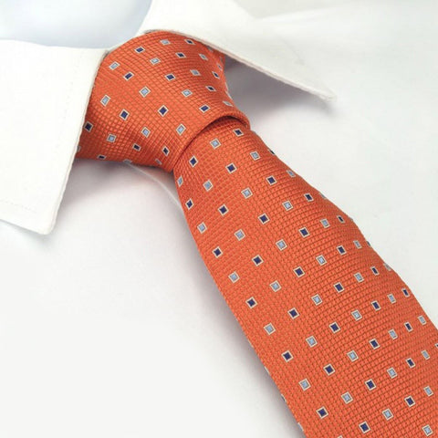 Orange Square Patterned Silk Tie