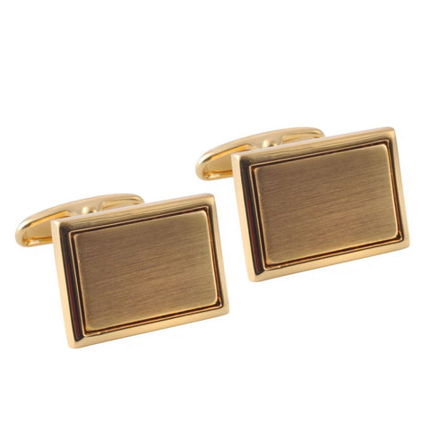 Brushed and Polished Gold Rectangle Cufflinks