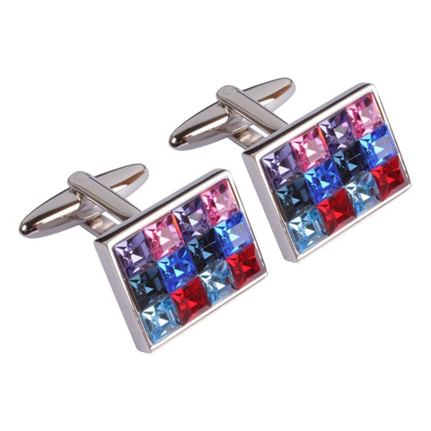 Mixed Swarovski Crystals Cufflinks