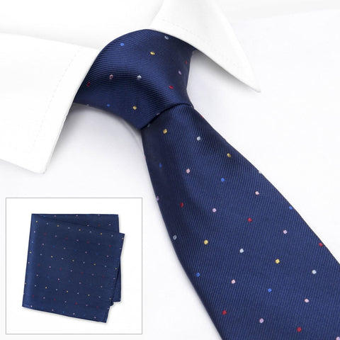 Navy Rainbow Spot Woven Silk Tie & Handkerchief Set