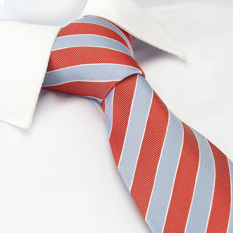 Red & Blue Luxury Striped Silk Tie