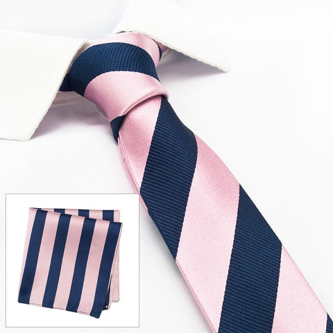 Pink & Navy Woven Striped Slim Silk Tie & Handkerchief Set