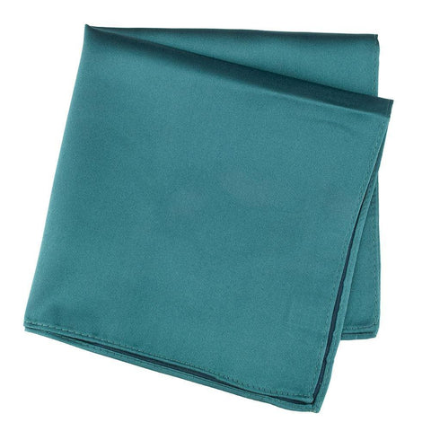 Plain Teal Silk Handkerchief