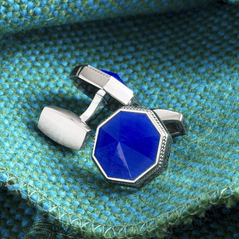 Blue Eight Facet Cufflinks
