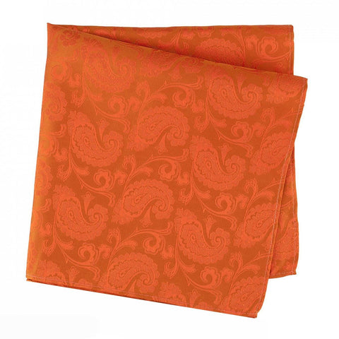 Classic Orange Paisley Silk Handkerchief