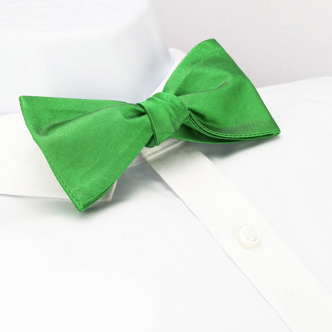 Self-Tie Plain Green Silk Bow Tie
