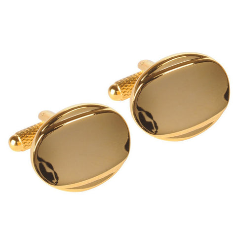 Golden Oval Curved Cufflinks
