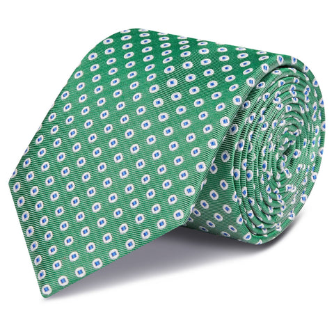 Green & Blue Oxford Spot Woven Silk Tie