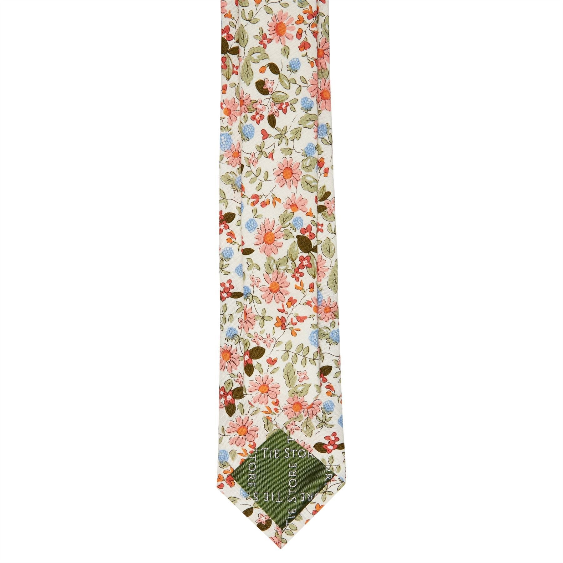 b71f40bf93d2 Off White Printed Floral Cotton Slim Tie – The Tie Store