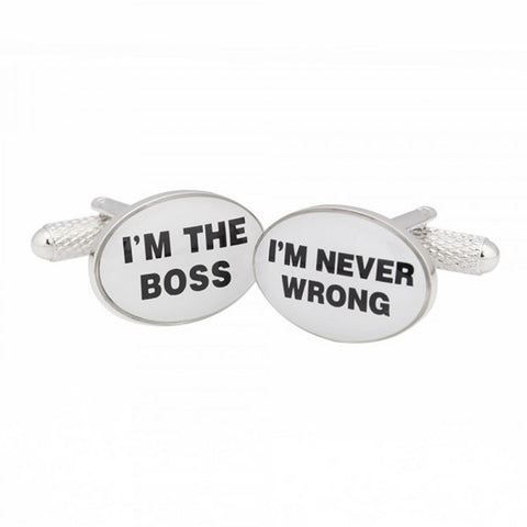 I'M THE BOSS I'M NEVER WRONG CUFFLINKS