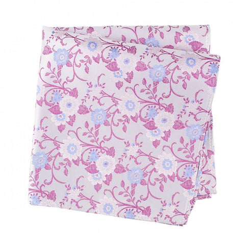Silver Luxury Floral Silk Handkerchief