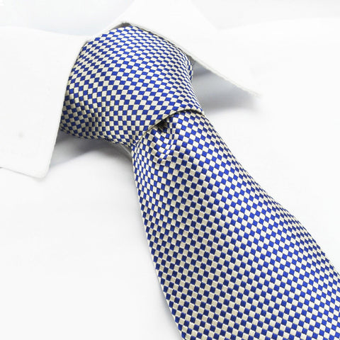 Gold & Navy Diamond Gridded Silk Tie
