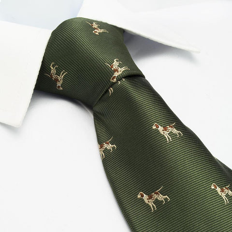 Country Green Dog Silk Tie