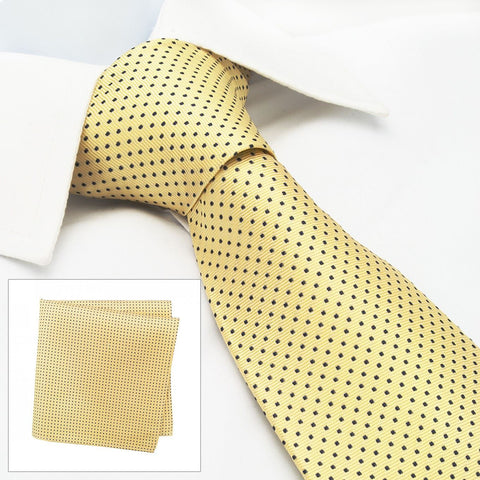 Yellow Neat Pin Dot Silk Tie & Handkerchief Set