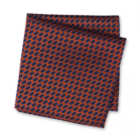 Navy & Orange Lattice Silk Handkerchief