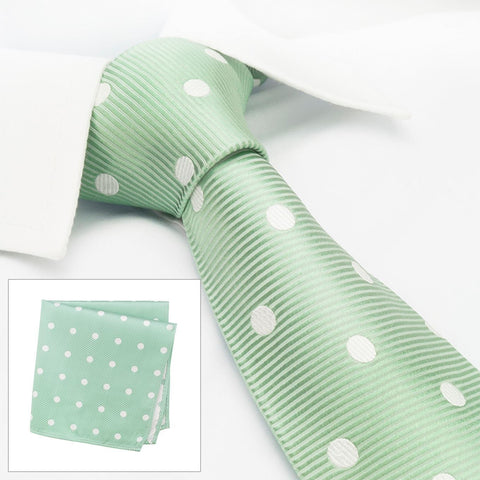 Mint Green Silk Tie & Handkerchief Set With White Polka Dots