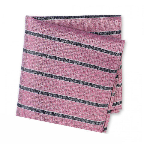 Pink and Black Silk Textured Stripe Classic Handkerchief