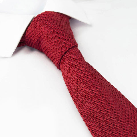 Red Knitted Square Cut Tie