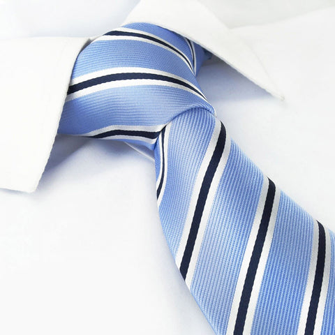 Light Blue with White & Navy Stripes Silk Tie