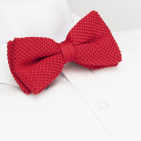 Pre-Tied Bright Red Knitted Bow Tie