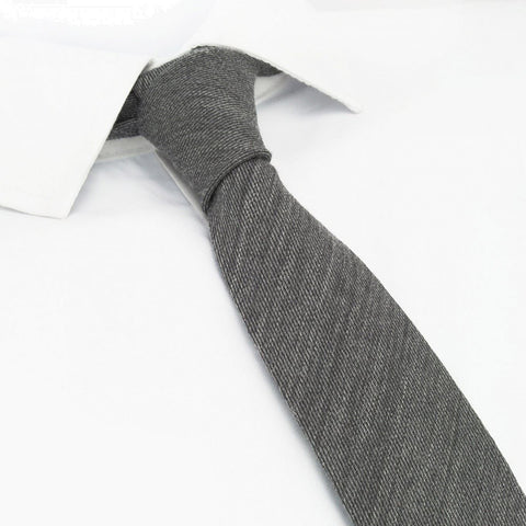 Plain Grey Wool Mix Slim Tie