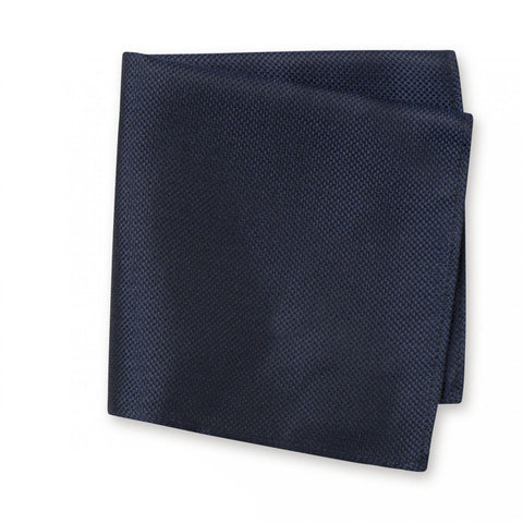 Navy Silk Plain Classic Textured Handkerchief