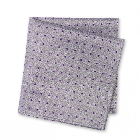 Grey & Purple Textured Spot Silk Handkerchief