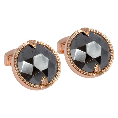 Rose Gold Cufflink with Facted Hematite Stone