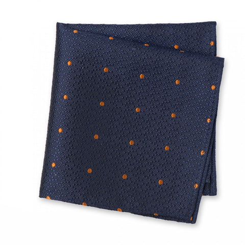 Navy & Orange Textured Spot Woven Silk Handkerchief