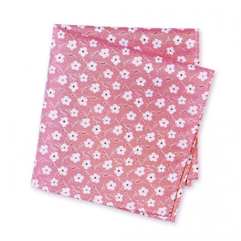 Pink & White Floral Luxury Woven Silk Handkerchief