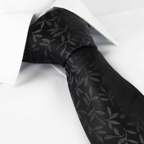 Black Leaf Jacquard Silk Tie
