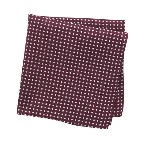 Dark Red Polka Dot Woven Silk Handkerchief