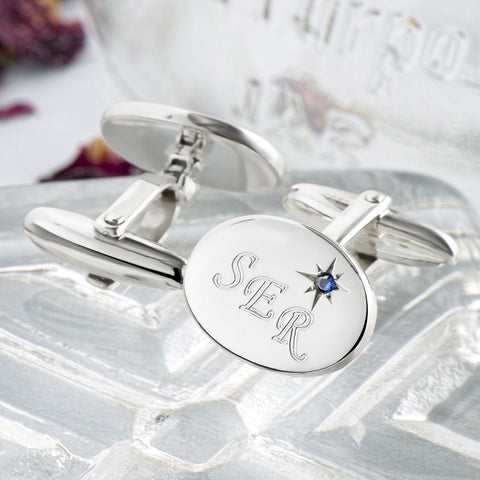 Sterling Silver Sapphire Oval Cufflinks (Engraved)