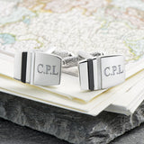 Onyx And Mother of Pearl Striped Engraved Cufflinks