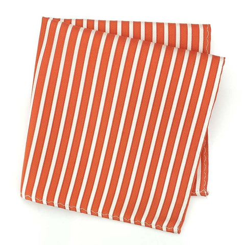 Orange and White Striped Silk Handkerchief
