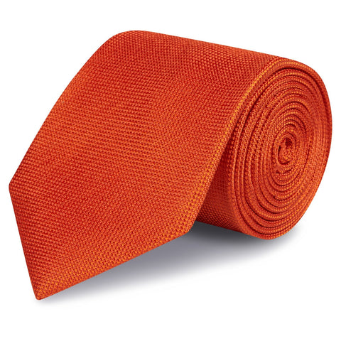 Burnt Orange Silk Plain Classic Textured Tie