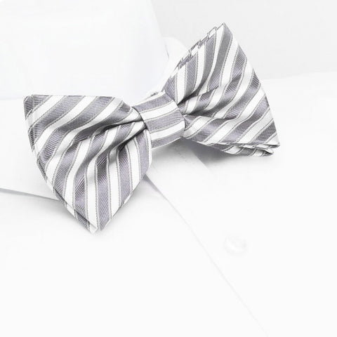 Pre-Tied Grey & Silver Striped Silk Bow Tie