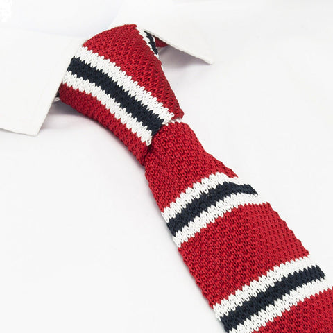 Red Club Stripe Knitted Square Cut Tie