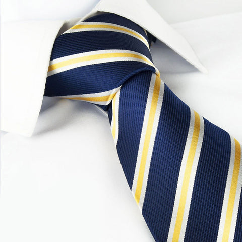Navy with White and Gold Stripes Silk Tie