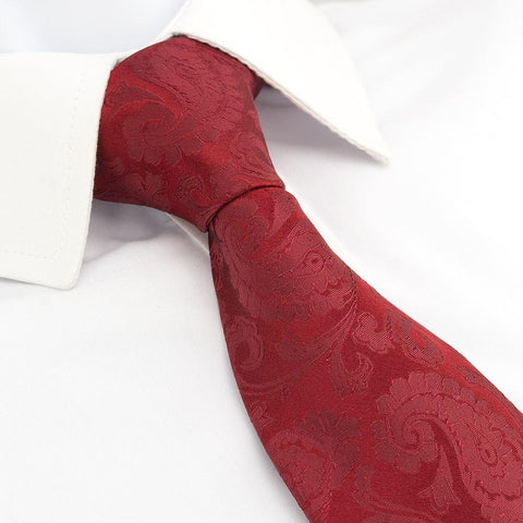 Classic Dark Red Paisley Silk Tie
